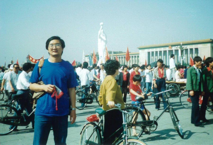 Mr. Che joins protesters in Tiananmen Square in 1989. The Statue of Democracy in the background — brought into the square by protesters — was destroyed by tanks two days later.