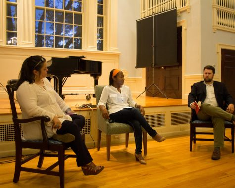 Ms. Patricia Sasser, center, participates in a panel discussion with faculty and students at Loomis Chaffee following the race-related protests and violence that occurred in Charlottesville, Va., in 2017.