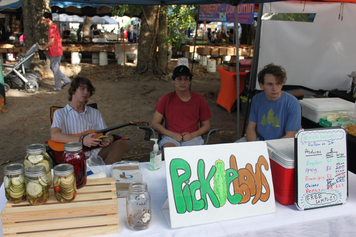 The Boys peddle their wares at the Coconut Grove Farmers Market.