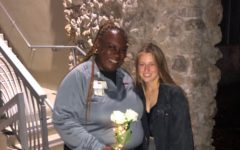 The author surprising Tammy with flowers.