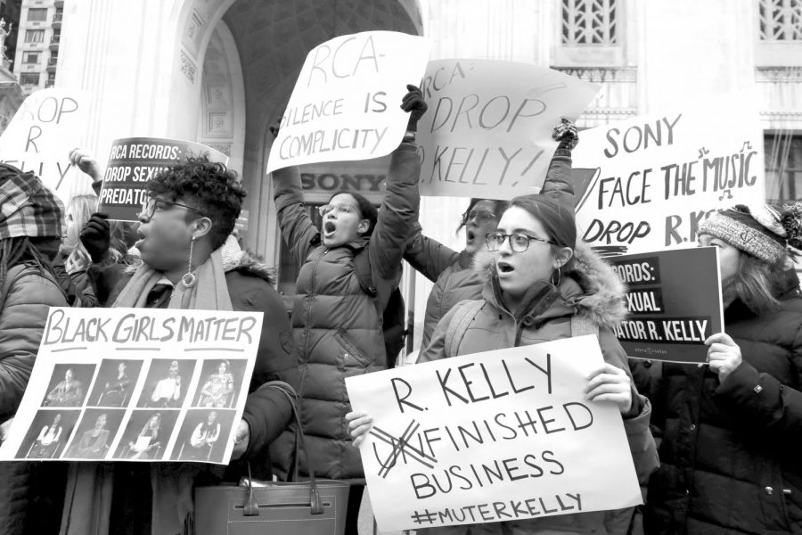 Demonstrators chant during a January protest against R. Kelly outside Sony headquarters in New York.