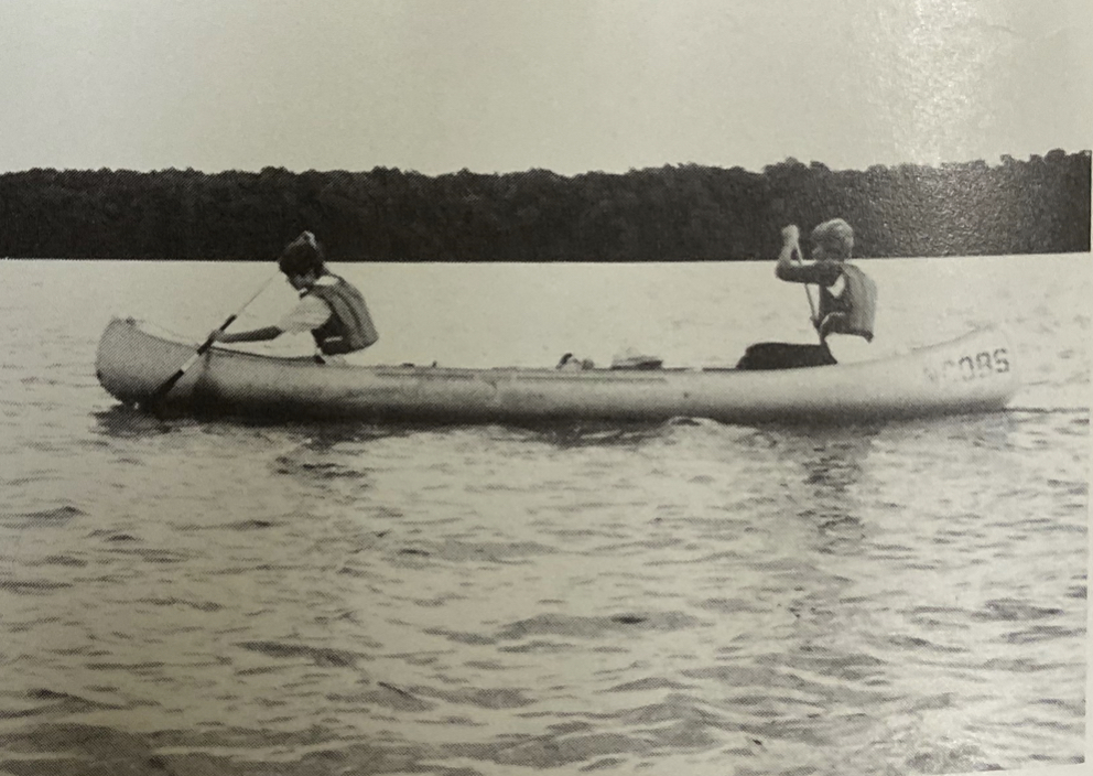 A pair of freshmen paddle through the Everglades on RE's first winter of Outward Bound in 1983