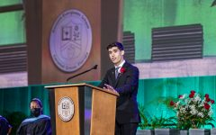 Erik Medina '21 delivers the valedictory address at the 2021 RE Commencement.